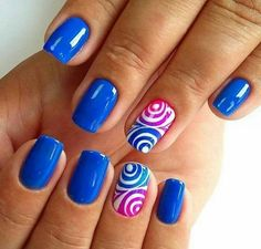 The Multi- Round Blue Nail Art Design. Blue color can go with any other color amazingly. If you want an example, check the picture above. Spring Nail Art, Spring Nails, Summer Nails, Acrylic Nail Designs, Nail Art Designs, Acrylic Nails, Blue Nails, My Nails, Bright Nails