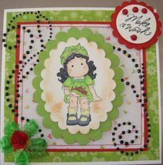 "Birthday card, ""Make a Wish"", Magnolia Tilda stamp"