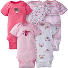 47da3753b3 5-Pack Girls Bear Onesies® Brand Short Sleeve Bodysuits