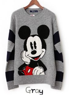 Mickey Mouse Printed Round Neck Sweater in Grey - I want it so much.