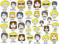 Lots of faces that are similar but with slightly different facial characteristics. Spanish Games, Spanish Vocabulary, Spanish 1, How To Speak Spanish, Spanish Grammar, Spanish Teaching Resources, Spanish Activities, Spanish Language Learning, Spanish Lesson Plans