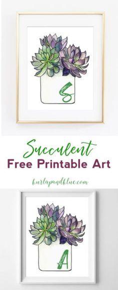 succulent printables | free succulent printable art | succulent art | plant art | wall art | wall decor | decor ideas | cheap art