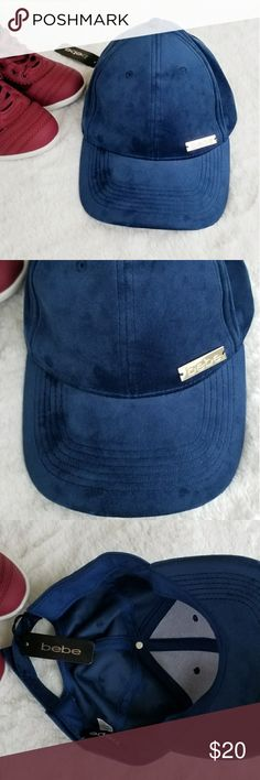 NWT BEBE Velour Hat Velour adjustable velcro strap hat. NWT Accessories Hats
