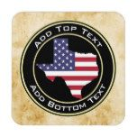 Faux Marble Stone Background with Texas Flag Map Coaster #Texas