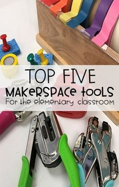 Looking for tools to add to your elementary school makerspace? Check out my top five favorite tools to use when working on STEM challenges our makerspace! Elementary Library, Elementary Schools, Elementary Science, Cute Diy, Library Lessons, Library Ideas, Innovation Lab, Stem Steam, Stem Projects