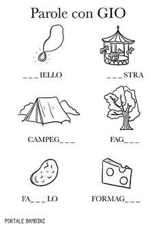 PAROLE CON GIA GIO GIU: elenco e schede | Portale Bambini Italian Language, Preschool, L2, Montessori, Vacation, Baby, Learning Italian, Speech Language Therapy, Vacations