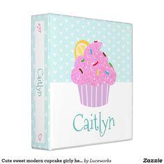 Cute sweet modern cupcake girly hearts aqua school 3 ring binder