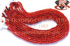 Carnelian Smooth Round (Quality C) Shape: Round Smooth Length: 36 cm Weight Approx: 8 to 10 Grms. Size Approx: 3.5 to 4.5 mm Price $2.10 Each Strand