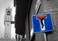 Clet Abraham is a street artist based in Florence but comes originally from Brittany.Check out 10 Most Humorous Street Signs By Clet Abraham Sticker Street Art, Best Street Art, Amazing Street Art, Awesome Art, Street Art Utopia, Street Art Graffiti, Best Canvas, Tank Girl, Street Signs
