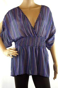 Sunny Leigh Multi Color Kimono Sleeve V-Neck  Semi Sheer Top Blouse  Size M  #SunnyLeigh #Blouse #Casual