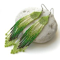 Long green seed bead earring   beadwork jewelry  by Anabel27shop
