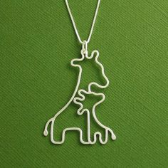 Giraffe Necklace, Mother and Baby, Sterling Silver, Box Chain, Made To Order. $65.00, via Etsy.