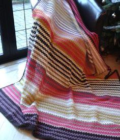 Missoni inspired granny stripe crochet blanket.