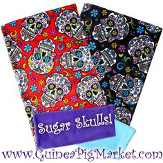Love this new fabric for Fleece Flippers for Guinea Pig Cages. These Sugar Skulls are amazing! www.guineapigmarket.com