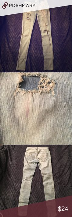 PACSUN Bullhead Light wash skinny jeans Light wash, distressed bullhead super skinny jeans. Used. Light lipstick stain on right leg (see pictures) may be able to come out. Bullhead Jeans Skinny