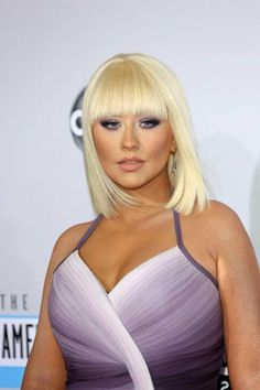 Christina Aguilera Blunt Blonde Bob with Bangs