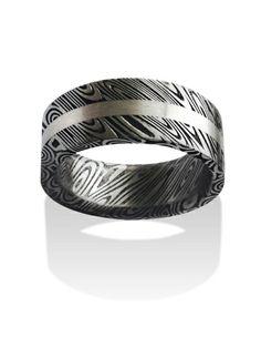 a35952c7beb Chris Ploof Damascus steel inlay ring. Wedding Bands