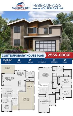 If you love the Contemporary style, get to know Plan 2559-00891. This Contemporary plan features 2,839 sq. ft., 4 bedrooms, 2.5 bathrooms, a kitchen island, an open floor plan, a media room, and a 2 car garage. #contemporaryhome #architecture #houseplans #housedesign #homedesign #homedesigns #architecturalplans #newconstruction #floorplans #dreamhome #dreamhouseplans #abhouseplans #besthouseplans #newhome #newhouse #homesweethome #buildingahome #buildahome #residentialplans #residentialhome Sims House Plans, Best House Plans, Dream House Plans, Contemporary House Plans, Contemporary Style, Tiny Homes, New Homes, Flat Roof, Home Jobs
