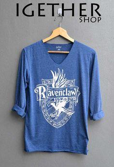 FINAL_NEW Ravenclaw Shirt Harry Potter Shirts V-Neck Navy Blue Unisex Adult Size S M L