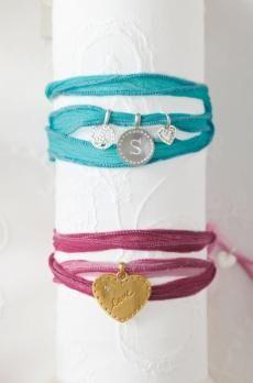 Aqua charm ribbon bracelet