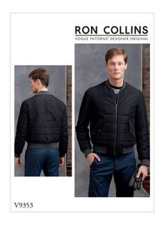 94244d7dcba Stylish bomber jacket V9353 Ron Collins - Loose-fitting lined jacket  features contrast collar and