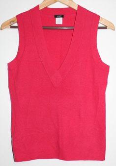 $33.95 OBO Women's J. Crew Pink Cashmere Wool Blend V Neck Sweater Vest Size: XS Sleeveless #JCrew #VestSleeveless #freeshipping