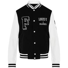 FRAGMENT EMBROIDERED VARSITY JACKET ❤ liked on Polyvore featuring outerwear, jackets, college jacket, varsity-style bomber jacket, embroidery jackets, letterman jacket and embroidered jacket