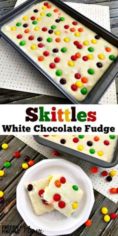 Decadent white chocolate fudge is infused with a heaping dose of sweet candy in this Skittles fudge recipe. Learning how to make Skittles fudge is easier than you may think. It takes only three ingredients (white chocolate chips, sweetened condensed milk Fudge Recipes, Candy Recipes, Baking Recipes, Dessert Recipes, Skittles Recipes, Easy Desserts, Delicious Desserts, Yummy Treats, Sweet Treats