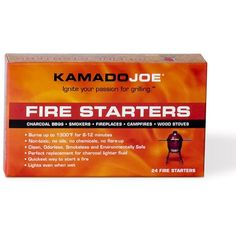 Get your fire going easily with the Kamado Joe Box of Fire Starters. Just place a cube in the charcoal and light away. They even light when wet! Ceramic Smoker, Kamado Joe, Lighter Fluid, Gas Lights, Safe Cleaning Products, Grill Accessories, Boxes For Sale, Fire Starters, Backyard Bbq
