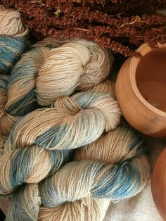 Plant dyed wool yarn blue and pale brown. Variegated. FINGERING weight. Suitable for knitting tablet weaving, crochet and nalbinding.