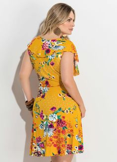 28ef66648 Vestido Transpassado Estampado Amarelo Plus Size - Quintess