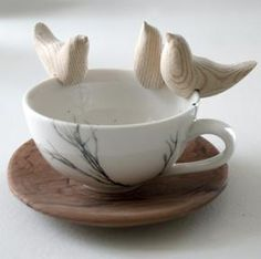 Love Birds - Love Milo Set of 3 hand carved wooden birds to fit rim of cup/glass
