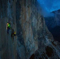 Tommy Caldwell with Kevin Jorgesen on Dawn Wall - Photo Jeff Johnson