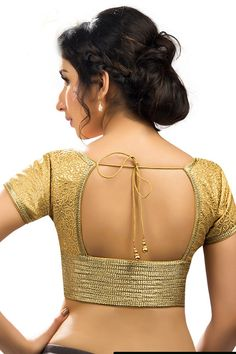 #Gold festive wear #banarasi semi brocade #grand blouse with cap sleeves -BL695