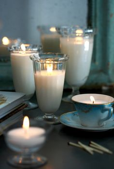 Make your own candles in glass of all kinds (found in thrift stores). So pretty!
