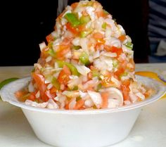 apparently we have to eat conch salad, conch soup or conch fritters in Nassau Conch Recipes, Seafood Recipes, Conch Salad, Bahamian Food, Conch Fritters, Caribbean Recipes, Caribbean Food, Jamaican Recipes, Jamaican Cuisine