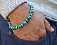 Herren spirituelle Heilung und Schutz-Armband mit Semi kostbare afrikanischen Malachit, Türkis, antiker Messing - Glück Mann Armband