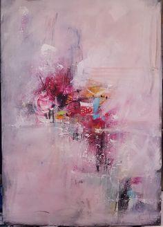 N°3 - Peinture,  37x55 cm ©2017 par Stéphanie MENARD -                                              Art abstrait, Art abstrait, peinture acrylique, peinture moderne, blanc, rose, multicolore, art moderne, abstrait, abstract, modern art, white, pink, acrylic