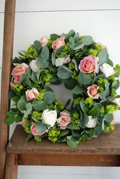 Fresh roses and eucalyptus wreath Funeral Flower Arrangements, Funeral Flowers, Floral Arrangements, Wreath Crafts, Diy Wreath, Wreaths For Front Door, Door Wreaths, Easter Wreaths, Christmas Wreaths