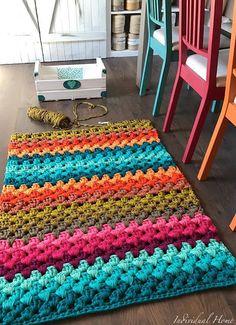 Anti Slip For Carpet Runners Diy Crochet Rug, Scrap Crochet, Crochet Carpet, Crochet Rug Patterns, Crochet Quilt, Crochet Mandala, Crochet Home, Crochet Motif, Simple Crochet Blanket