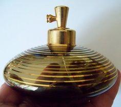 Vintage DeVilbiss Saucer Shape Glass perfume bottle-Translucent Smoke Gold bands