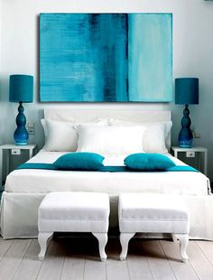 Title: Caribbean Blue. REDUCED $100 off! Made on large 36x38x1.5 canvas - Designer high style contemporary abstract that will add that splash of