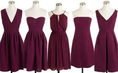 Cranberry Red, Burgundy, Bridesmaid Dresses, Short Dresses
