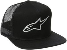 super popular 175d6 5bb6a ALPINESTARS Men s Corp Trucker Hat, Black, One Size  Flat bill shape, snap  back trucker hat.