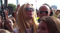 Supportive: One day after flying their children to Massachusetts to see him perform with Ed Sheeran, Gwyneth Paltrow was spotted watching ex-husband Chris Martin at Global Citizen Festival in New York City