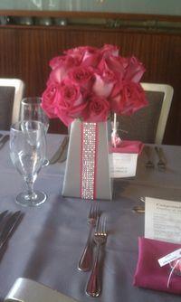 Hot Pink & Bling Wedding Center Piece
