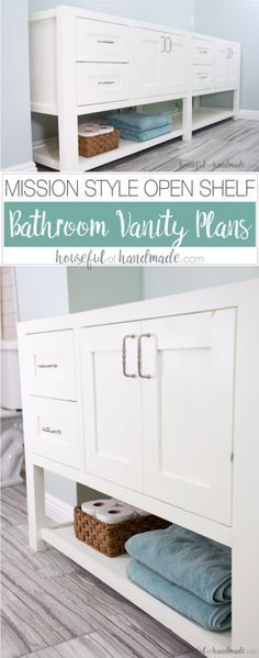 Get the free plans for this mission style open shelf bathroom vanity. With a few woodworking skills you can build your own bathroom vanity on a budget.