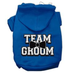 Team Groom Screen Print Pet Hoodies Blue Size Med (12)