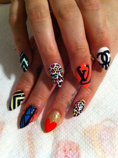 'Creative / Collage-y (as I like to call it)' nail art! I love the cheetah... <3