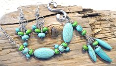 Necklace and Earrings, Jewelry set, Blue and Green Turquoise, Gift Idea, Silver by LKArtChic on Etsy